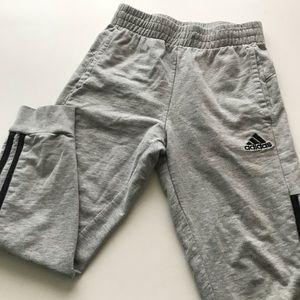 Adidas Gray with Black Stripes boys joggers 8